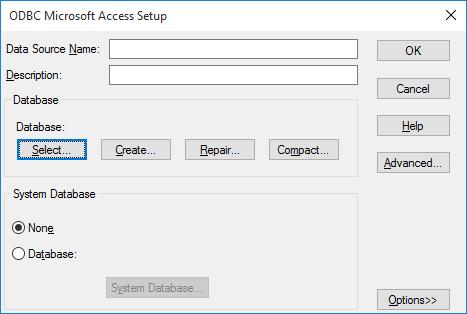 odbc microsoft access setup