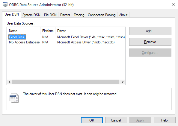 windows odbc data source administrator